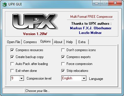 upx pour windows 7